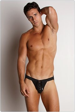Activeman Lace-up Swimmer JockStrap Black