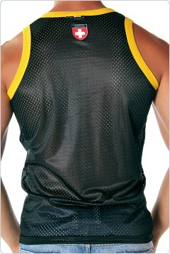 Andrew Christian Sports Mesh Cross Tank Black