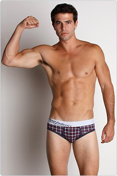 Diesel Tetry Plaid Low-Rise Brief Blue/Red
