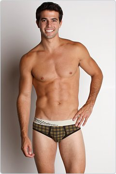 Diesel Tetry Plaid Low-Rise Brief Olive/Yellow