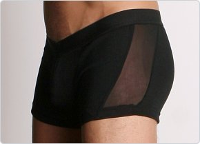 Go Softwear Mesh Panel Square Cut Boxer Black