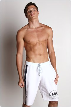 LASC Cotton Fleece Gym Shorts White