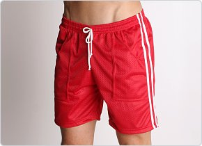 LASC Mesh Sports Shorts Red