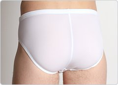LASC Zip Front Swim Brief White
