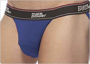 Male Power Cotton Lycra Jockstrap Blue