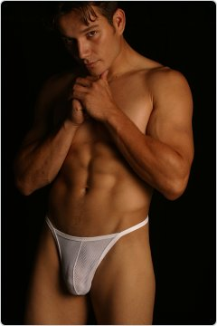 PB Mesh String Thong White