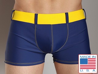 Go Softwear Bond Square Cut Swim Trunk Navy/Yellow