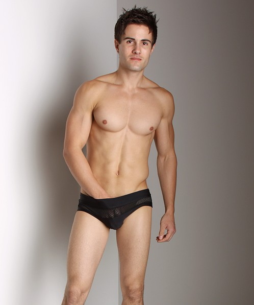 Go Software Noir Swim Brief with Mesh Black