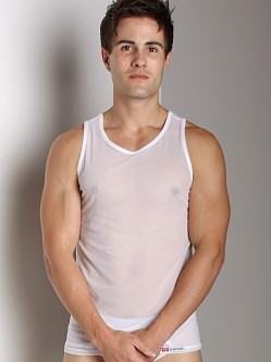 Go Softwear Satin Mesh Tank Top White