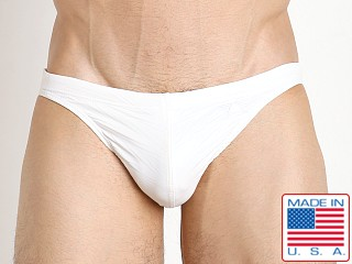 LASC St. Tropez Low Rise Swim Brief White Chevron Leather