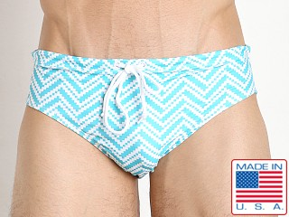 LASC Aussie Style Loose Fit Swim Brief Turquoise Zig Zag