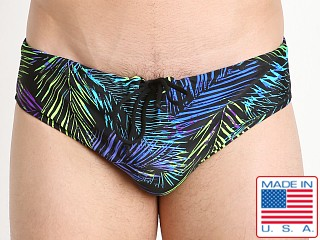 LASC Aussie Style Loose Fit Swim Brief Blue Neon Palms
