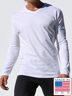 Rufskin Pete Long Sleeve V-Neck Shirt White