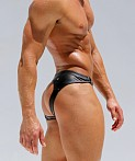 Rufskin Raven Rubber-Look Jockstrap Black, view 3