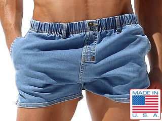 Rufskin Wilder Stretch Denim Shorts Distressed Stone Wash