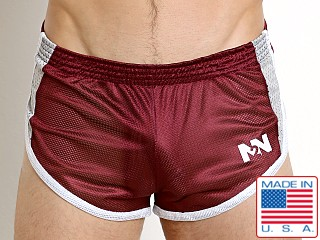 N2N Bodywear Galaxy 2.0 Mesh Split Short Burgundy