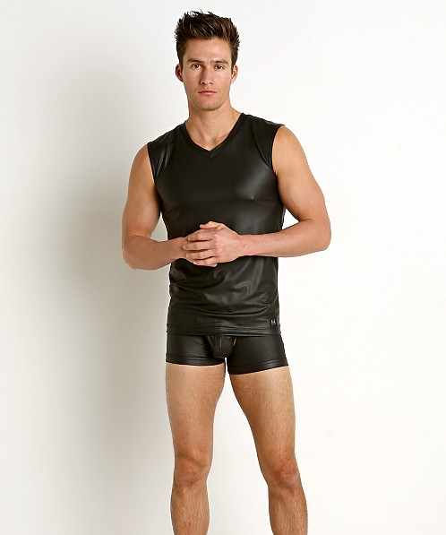 Gregg Homme Crave Faux Leather V-Neck Muscle Shirt Black