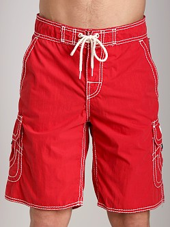 True Religion Cargo Board Shorts Red