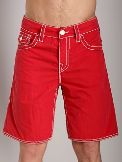 True Religion 5 Pocket Big T Board Shorts Red