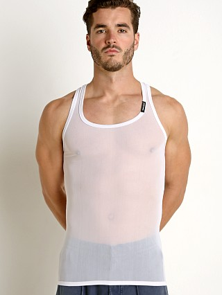 Model in white Private Structure Intima Mesh Nylon Tank Top