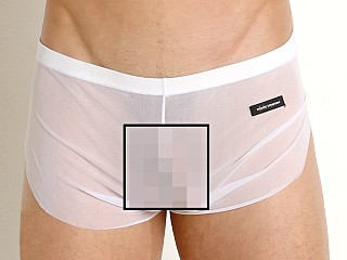 Model in white Private Structure Intima Mesh Nylon Boxer