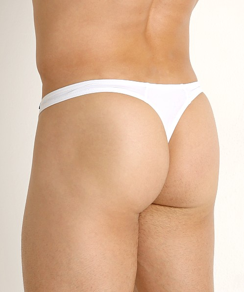 Private Structure Glaze Stretch Nylon Thong White