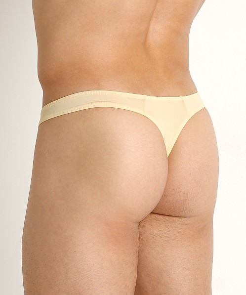Private Structure Glaze Stretch Nylon Thong Beige