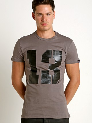 "Model in grey Cell Block 13 Logo ""13"" Crew Neck Tee Shirt"