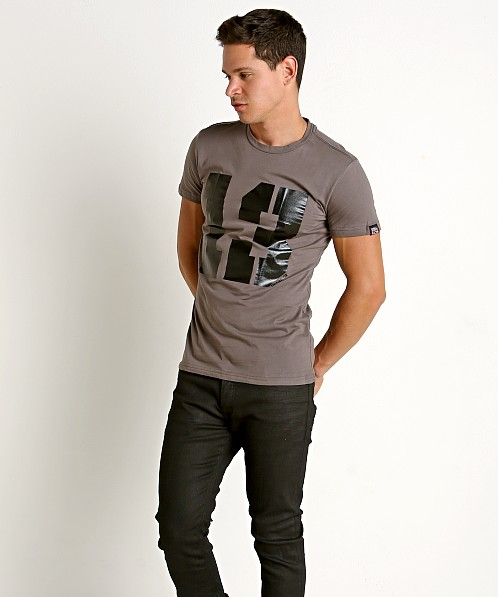 "Cell Block 13 Logo ""13"" Crew Neck Tee Shirt Grey"