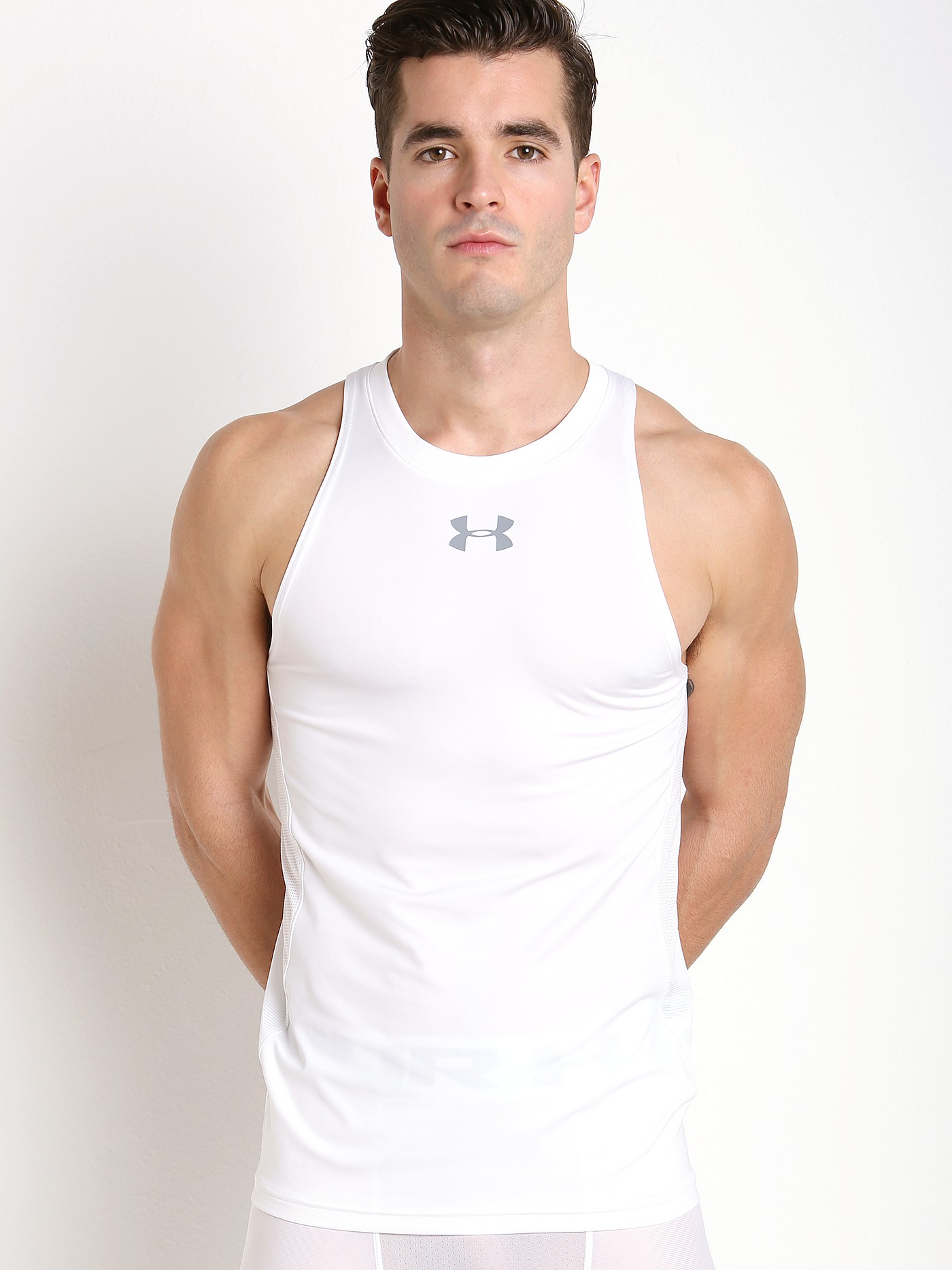 promo code 8ea9e cc0bc Under Armour Baseline Fitted Performance Tank Top White 1290588-100 at  International Jock