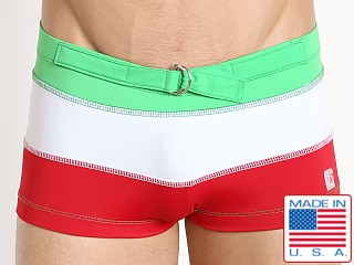 Pistol Pete Tristar Swim Trunk Green/White/Red