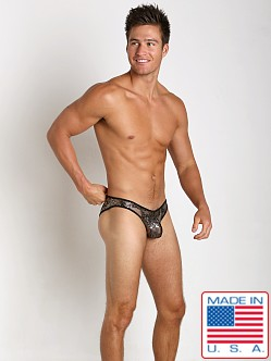 Pistol Pete Jaguar Sequin Mesh Brief Gold