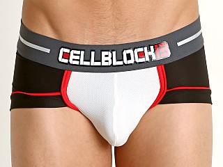 Model in white Cell Block 13 Hydro Mesh Square Brief