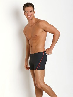 Speedo Mini Hexagon Square Leg Black Print