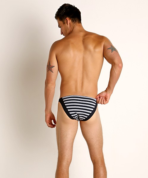 Modus Vivendi Striped Back Super Low Rise Brief Grey