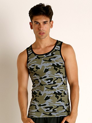 Model in khaki Modus Vivendi Camo Tank Top
