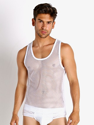 Model in white Nasty Pig Open Access Tank Top