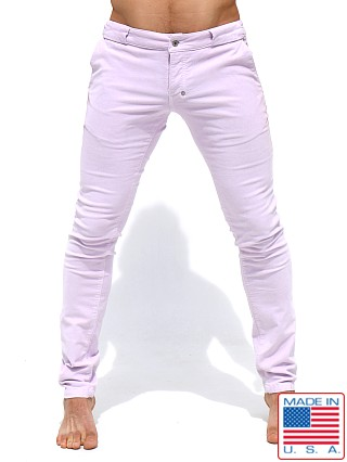 Model in light lavender Rufskin Bobby Stretch Cotton Corduroy Slacks