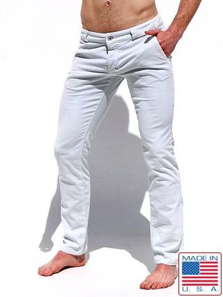 Model in sea breeze Rufskin Bobby Stretch Cotton Corduroy Slacks