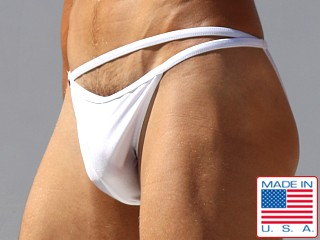 Model in white Rufskin Rex Euro-Cut Swim Brief