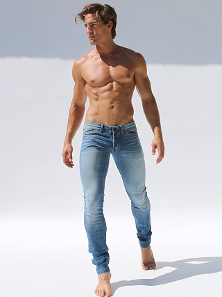 Rufskin Hendrix Distressed Denim Jeans Faded Blue