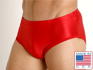 Model in red Matman Lycra Wrestling Briefs