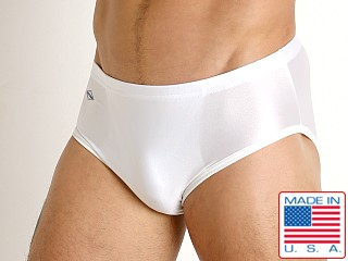 Model in white Matman Lycra Wrestling Briefs