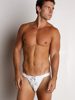 Activeman Lace-up Swimmer Jockstrap White