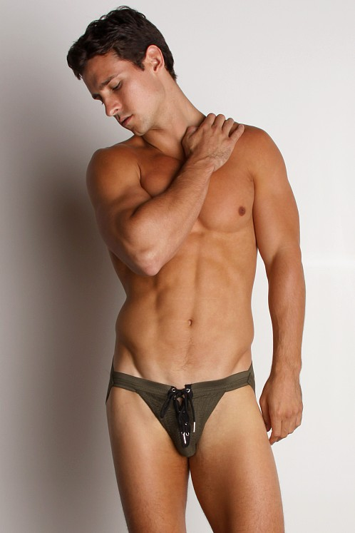 Activeman Lace-up Swimmer JockStrap Green