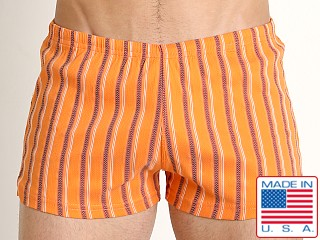 Model in orange stripe Sauvage Italian Nylon/Lycra Classic Trunk