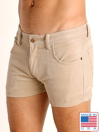 Model in khaki LASC Corduroy 5-Pocket Short Shorts
