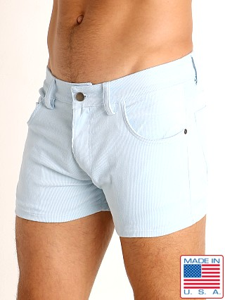 Model in baby blue LASC Corduroy 5-Pocket Short Shorts