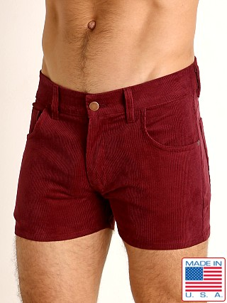 Model in burgundy LASC Corduroy 5-Pocket Short Shorts