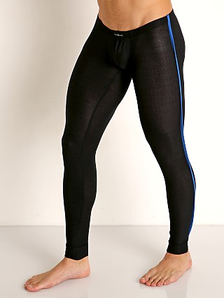Model in black/royal Gregg Homme Physical Modal Low Rise Leggings